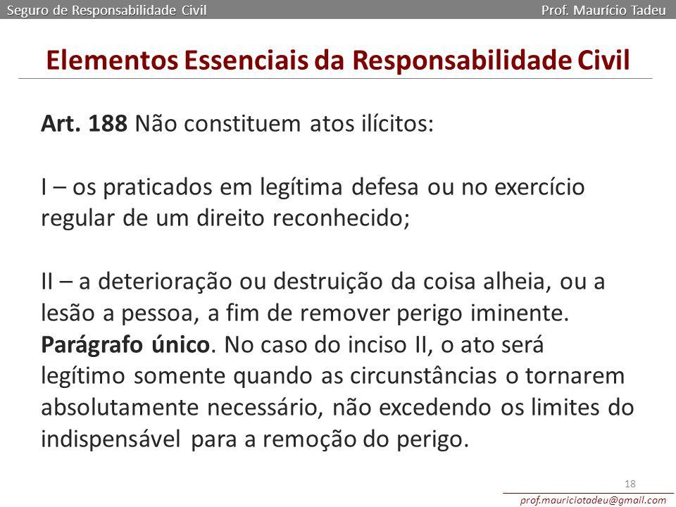 Art. 188 Não constituem atos ilícitos: I – os praticados em legítima defesa ou no exercício regular de um direito reconhecido; II – a deterioração ou