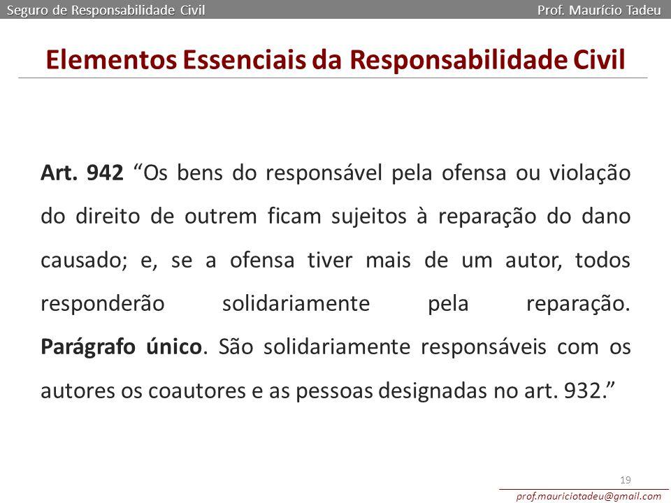 """Art. 942 """"Os bens do responsável pela ofensa ou violação do direito de outrem ficam sujeitos à reparação do dano causado; e, se a ofensa tiver mais de"""