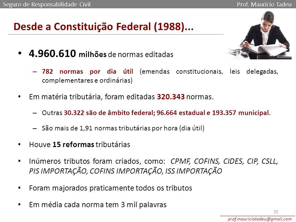 Seguro de Responsabilidade Civil Prof. Maurício Tadeu prof.mauriciotadeu@gmail.com 4.960.610 milhões de normas editadas – 782 normas por dia útil (eme