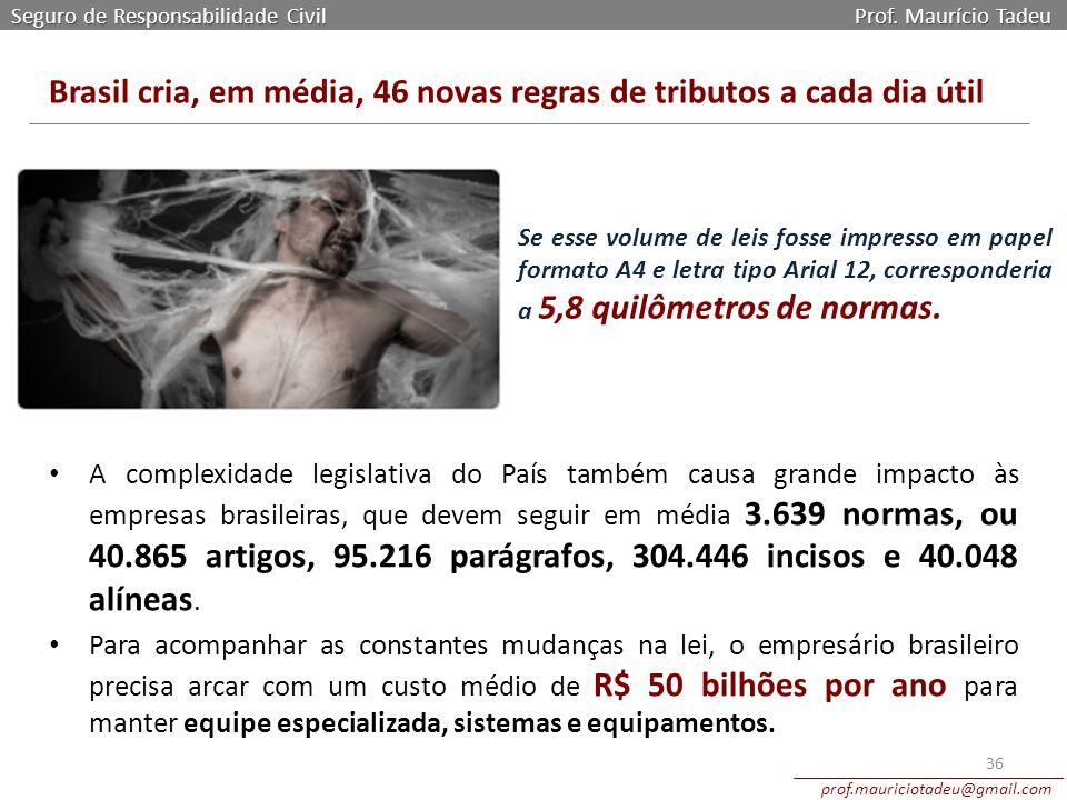 Seguro de Responsabilidade Civil Prof. Maurício Tadeu prof.mauriciotadeu@gmail.com 36 Brasil cria, em média, 46 novas regras de tributos a cada dia út