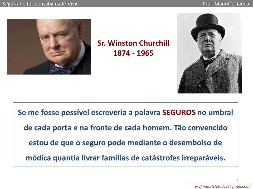 Sr. Winston Churchill 1874 - 1965 Seguro de Responsabilidade Civil Prof. Maurício Tadeu prof.mauriciotadeu@gmail.com 4 Se me fosse possível escreveria