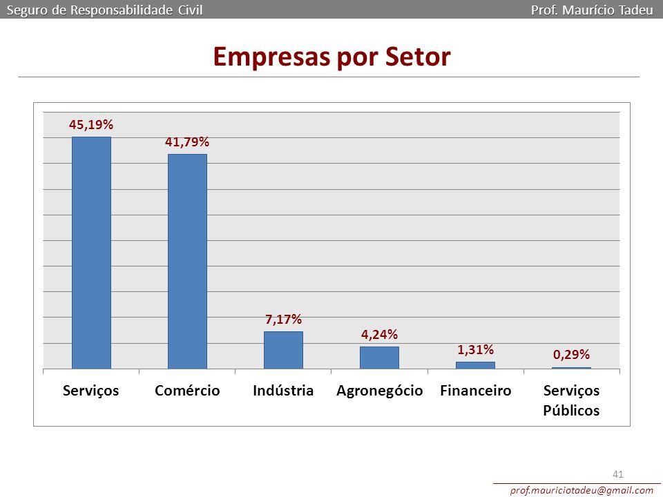 Seguro de Responsabilidade Civil Prof. Maurício Tadeu prof.mauriciotadeu@gmail.com 41 Empresas por Setor