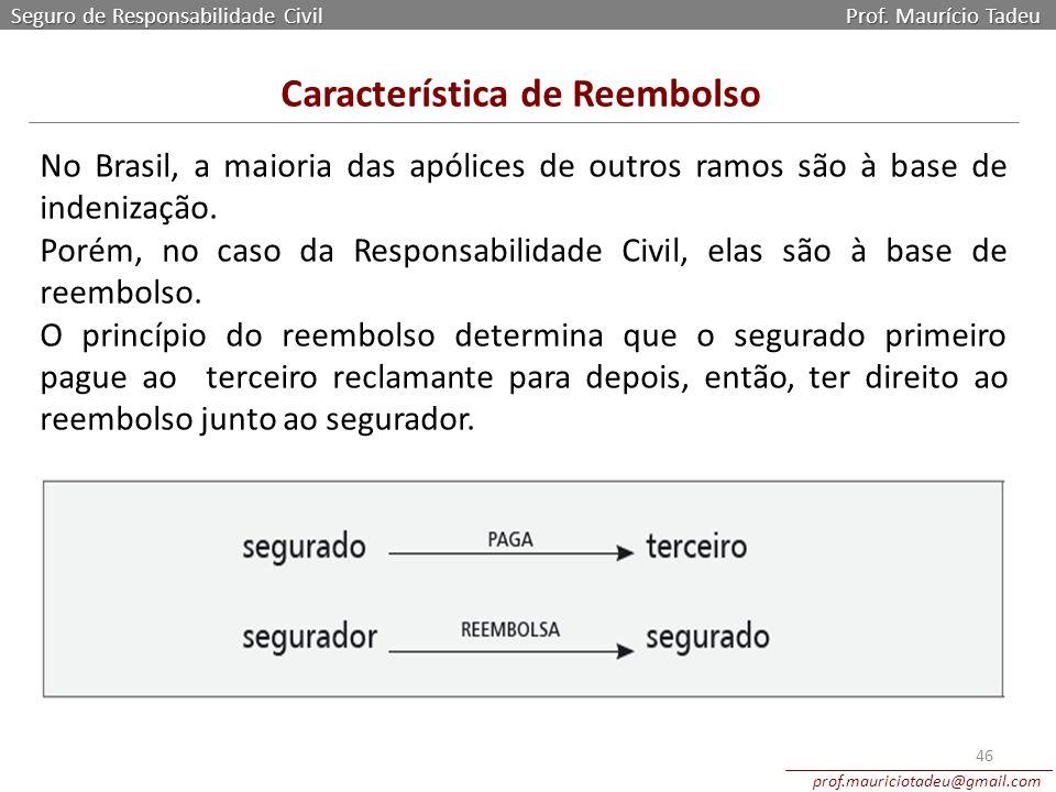 Seguro de Responsabilidade Civil Prof. Maurício Tadeu prof.mauriciotadeu@gmail.com 46 No Brasil, a maioria das apólices de outros ramos são à base de