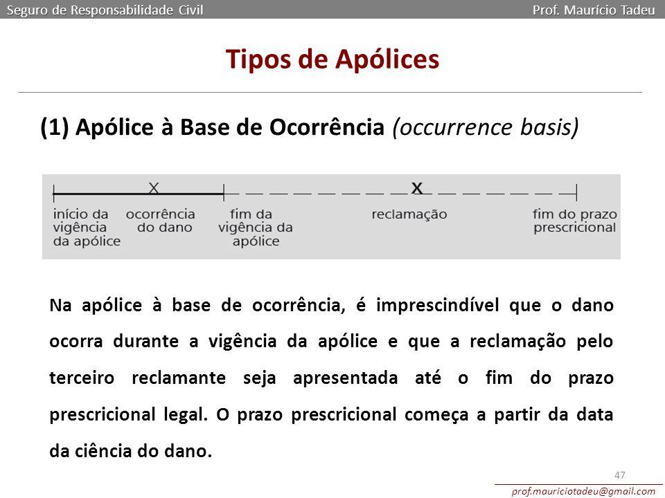 Seguro de Responsabilidade Civil Prof. Maurício Tadeu prof.mauriciotadeu@gmail.com 47 Tipos de Apólices (1) Apólice à Base de Ocorrência (occurrence b