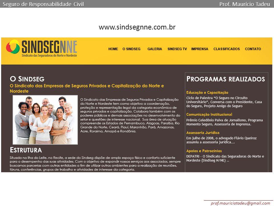 Seguro de Responsabilidade Civil Prof. Maurício Tadeu www.sindsegnne.com.br prof.mauriciotadeu@gmail.com