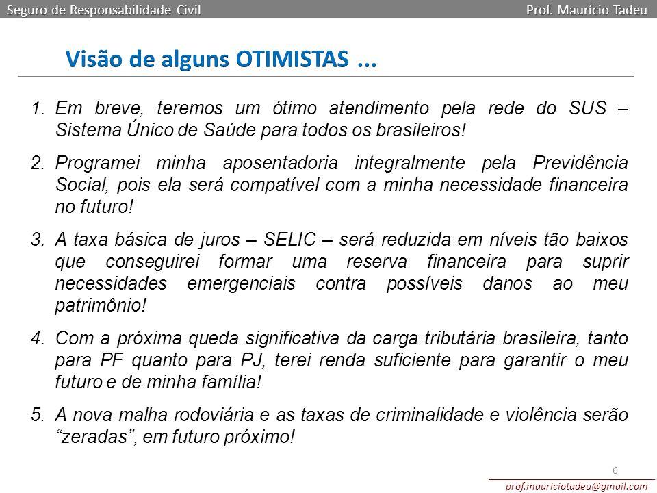 Seguro de Responsabilidade Civil Prof. Maurício Tadeu prof.mauriciotadeu@gmail.com 6 1.Em breve, teremos um ótimo atendimento pela rede do SUS – Siste