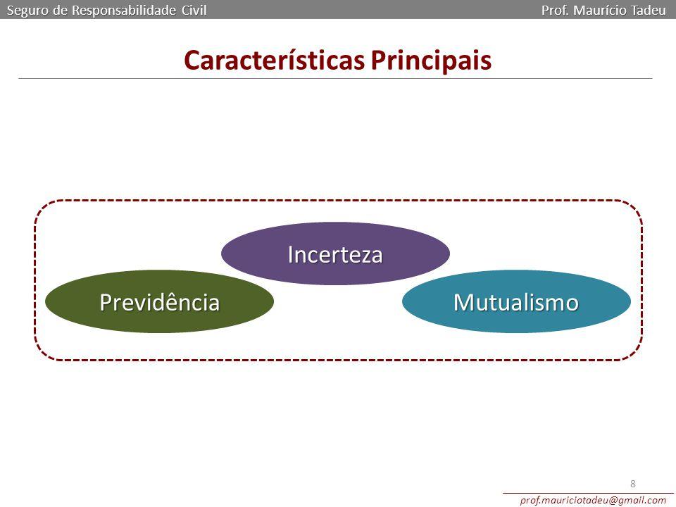 Características Principais Seguro de Responsabilidade Civil Prof. Maurício Tadeu prof.mauriciotadeu@gmail.com 8 Previdência Incerteza Mutualismo