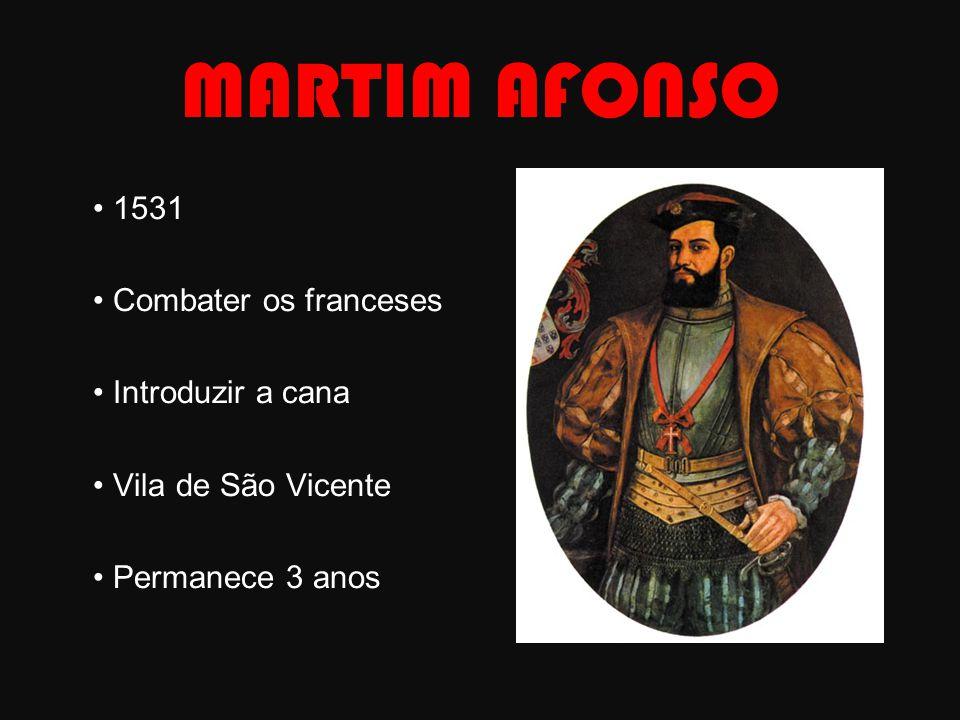 MARTIM AFONSO 1531 Combater os franceses Introduzir a cana Vila de São Vicente Permanece 3 anos