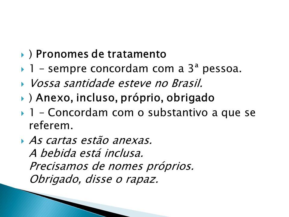  ) Pronomes de tratamento  1 – sempre concordam com a 3ª pessoa.  Vossa santidade esteve no Brasil.  ) Anexo, incluso, próprio, obrigado  1 – Con