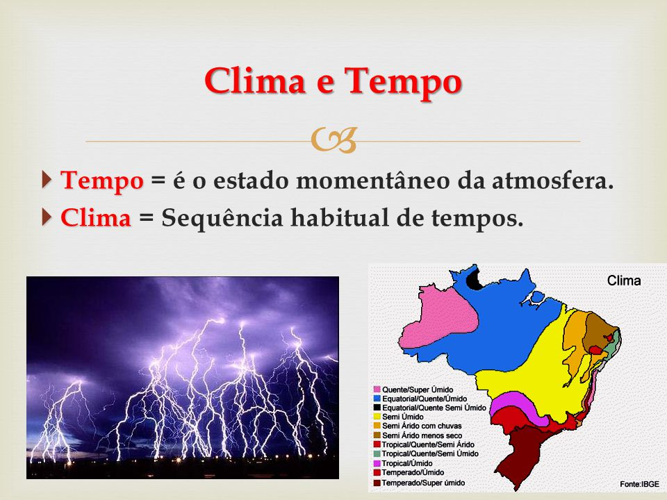   Tempo  Tempo = é o estado momentâneo da atmosfera.  Clima  Clima = Sequência habitual de tempos. Clima e Tempo