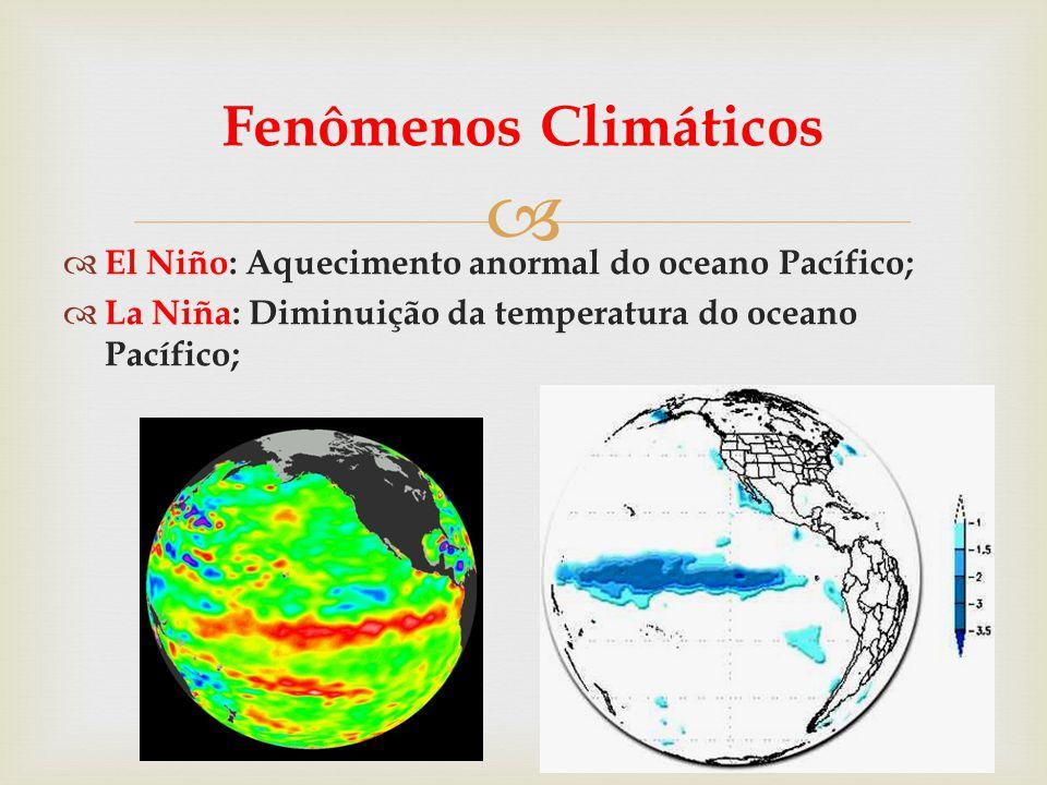   El Niño: Aquecimento anormal do oceano Pacífico;  La Niña: Diminuição da temperatura do oceano Pacífico; Fenômenos Climáticos