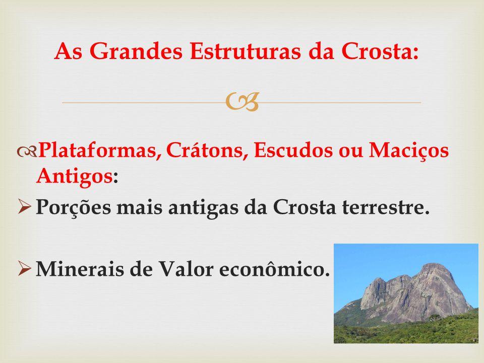   Plataformas, Crátons, Escudos ou Maciços Antigos:  Porções mais antigas da Crosta terrestre.  Minerais de Valor econômico. As Grandes Estruturas