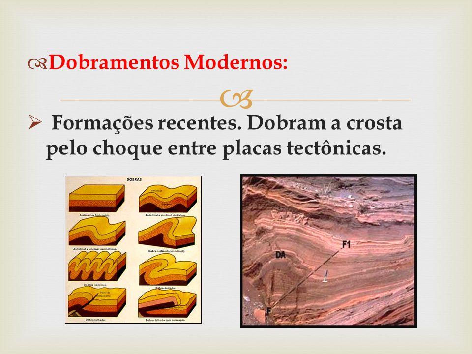   Dobramentos Modernos:  Formações recentes. Dobram a crosta pelo choque entre placas tectônicas.