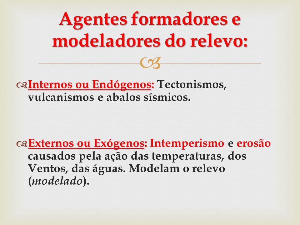   Internos ou Endógenos:  Internos ou Endógenos: Tectonismos, vulcanismos e abalos sísmicos.  Externos ou Exógenos  Externos ou Exógenos: Intempe