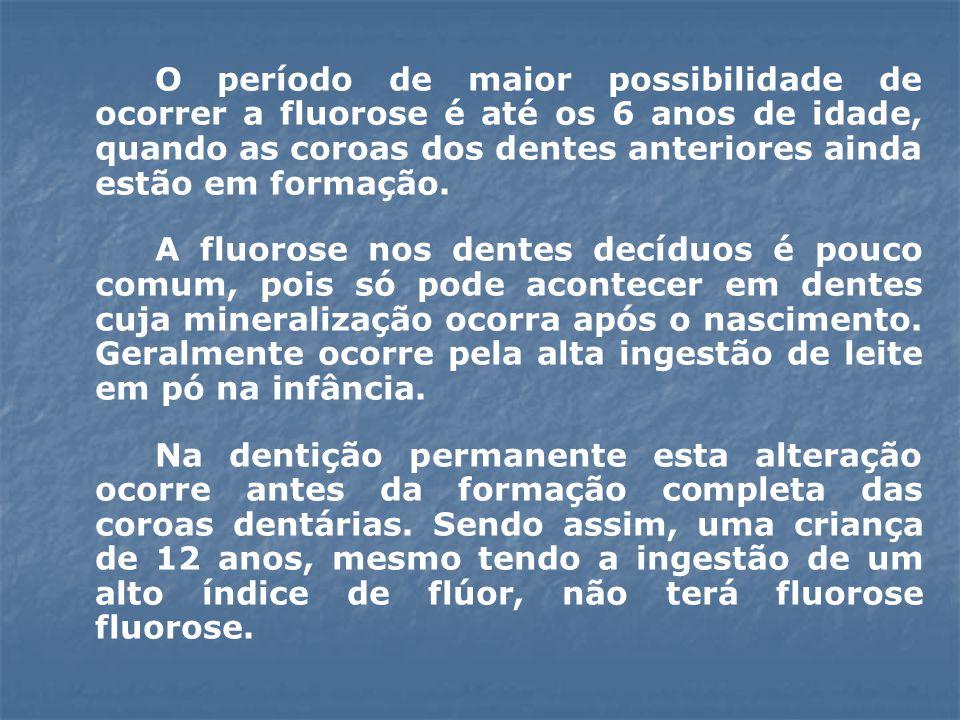 O período de maior possibilidade de ocorrer a fluorose é até os 6 anos de idade, quando as coroas dos dentes anteriores ainda estão em formação. A flu
