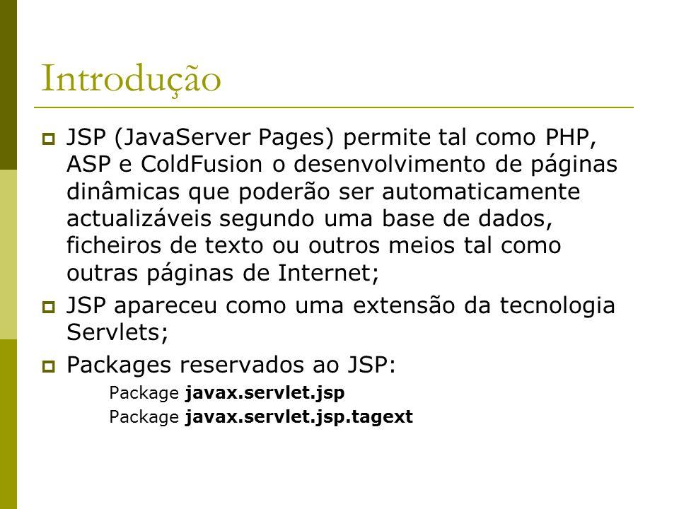 Introdução  JSP (JavaServer Pages) permite tal como PHP, ASP e ColdFusion o desenvolvimento de páginas dinâmicas que poderão ser automaticamente actualizáveis segundo uma base de dados, ficheiros de texto ou outros meios tal como outras páginas de Internet;  JSP apareceu como uma extensão da tecnologia Servlets;  Packages reservados ao JSP: Package javax.servlet.jsp Package javax.servlet.jsp.tagext