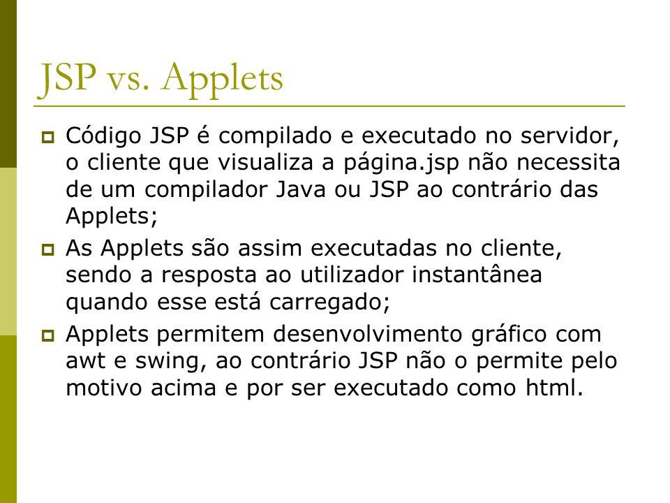 JSP vs. Applets  Código JSP é compilado e executado no servidor, o cliente que visualiza a página.jsp não necessita de um compilador Java ou JSP ao c