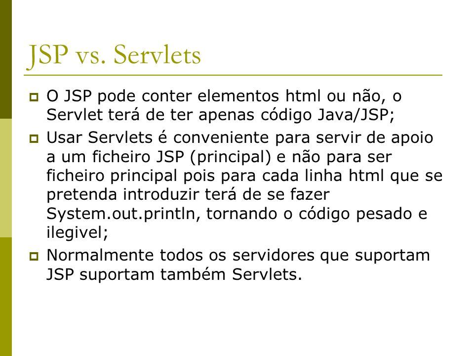 JSP vs. Servlets  O JSP pode conter elementos html ou não, o Servlet terá de ter apenas código Java/JSP;  Usar Servlets é conveniente para servir de