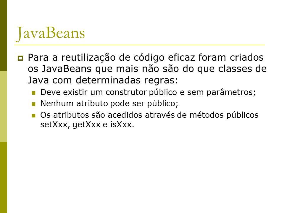 JavaBeans  Para a reutilização de código eficaz foram criados os JavaBeans que mais não são do que classes de Java com determinadas regras: Deve existir um construtor público e sem parâmetros; Nenhum atributo pode ser público; Os atributos são acedidos através de métodos públicos setXxx, getXxx e isXxx.