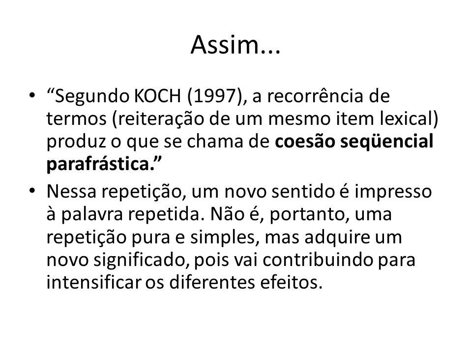 """Assim... """"Segundo KOCH (1997), a recorrência de termos (reiteração de um mesmo item lexical) produz o que se chama de coesão seqüencial parafrástica."""""""