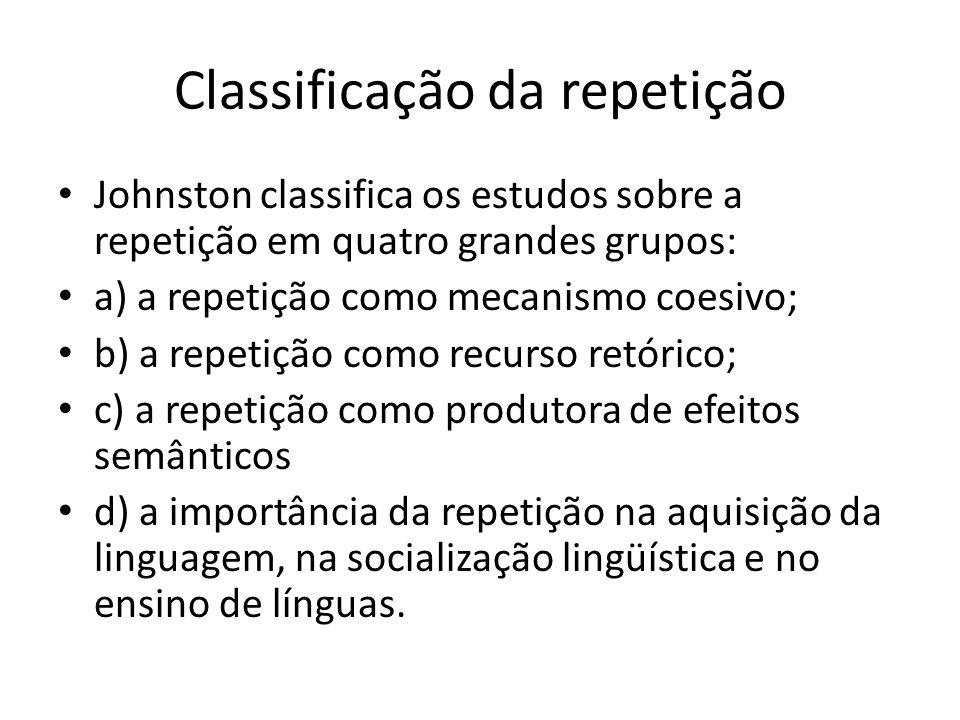 Classificação da repetição Johnston classifica os estudos sobre a repetição em quatro grandes grupos: a) a repetição como mecanismo coesivo; b) a repetição como recurso retórico; c) a repetição como produtora de efeitos semânticos d) a importância da repetição na aquisição da linguagem, na socialização lingüística e no ensino de línguas.