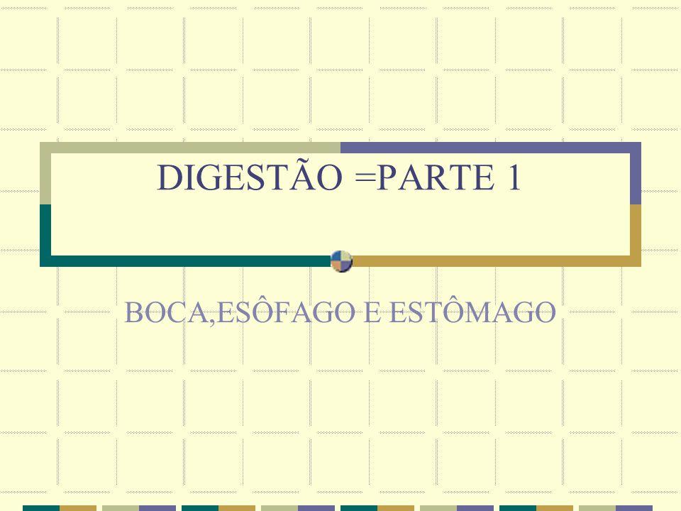 DIGESTÃO =PARTE 1 BOCA,ESÔFAGO E ESTÔMAGO