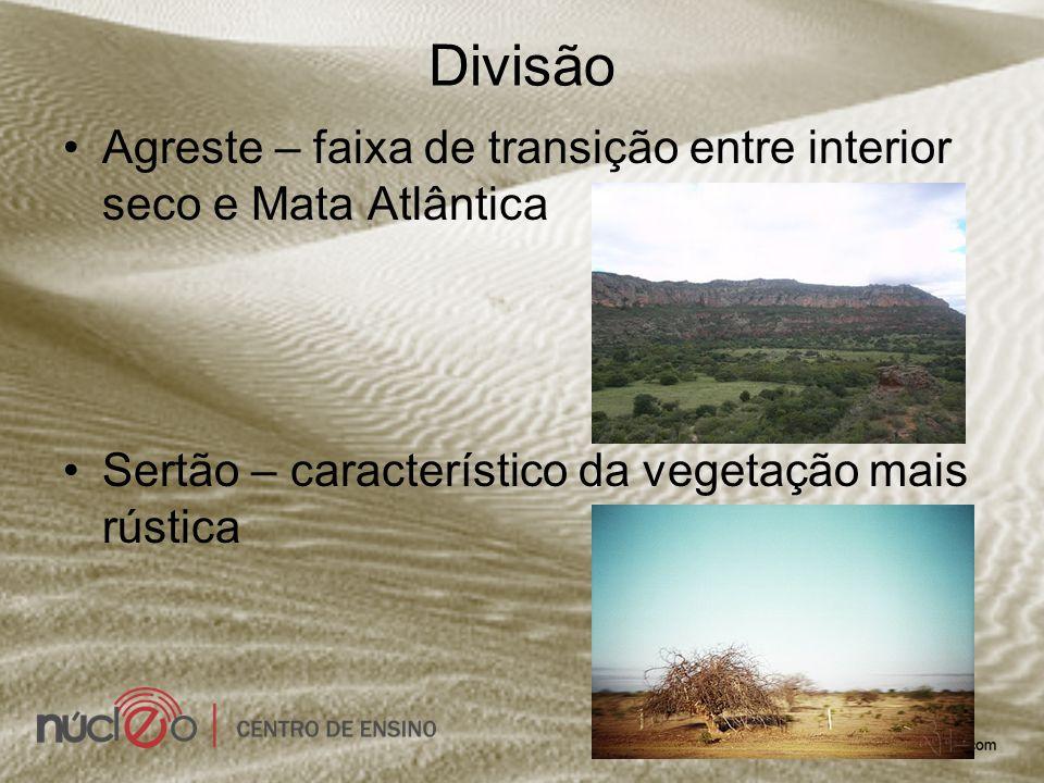 Divisão Agreste – faixa de transição entre interior seco e Mata Atlântica Sertão – característico da vegetação mais rústica