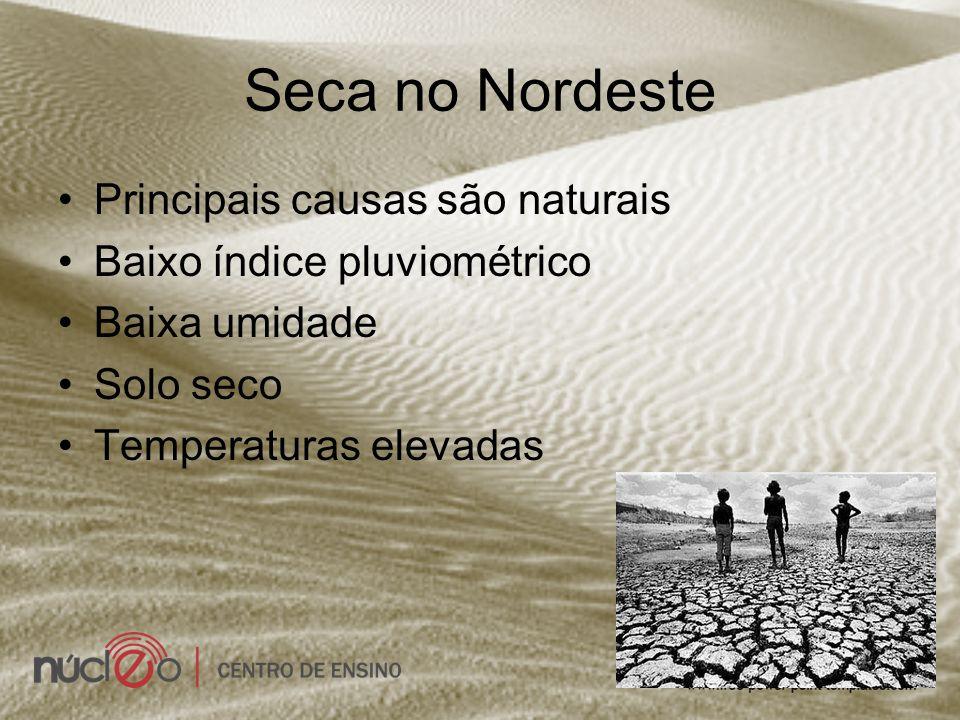 Seca no Nordeste Principais causas são naturais Baixo índice pluviométrico Baixa umidade Solo seco Temperaturas elevadas
