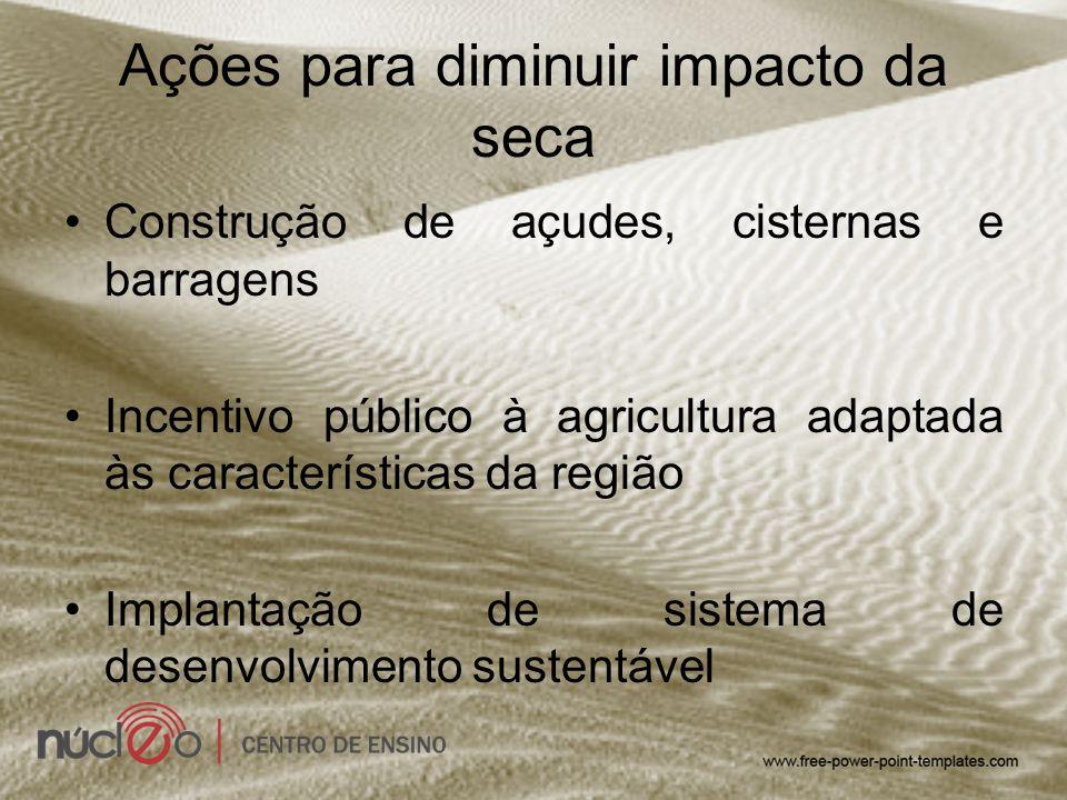 Ações para diminuir impacto da seca Construção de açudes, cisternas e barragens Incentivo público à agricultura adaptada às características da região