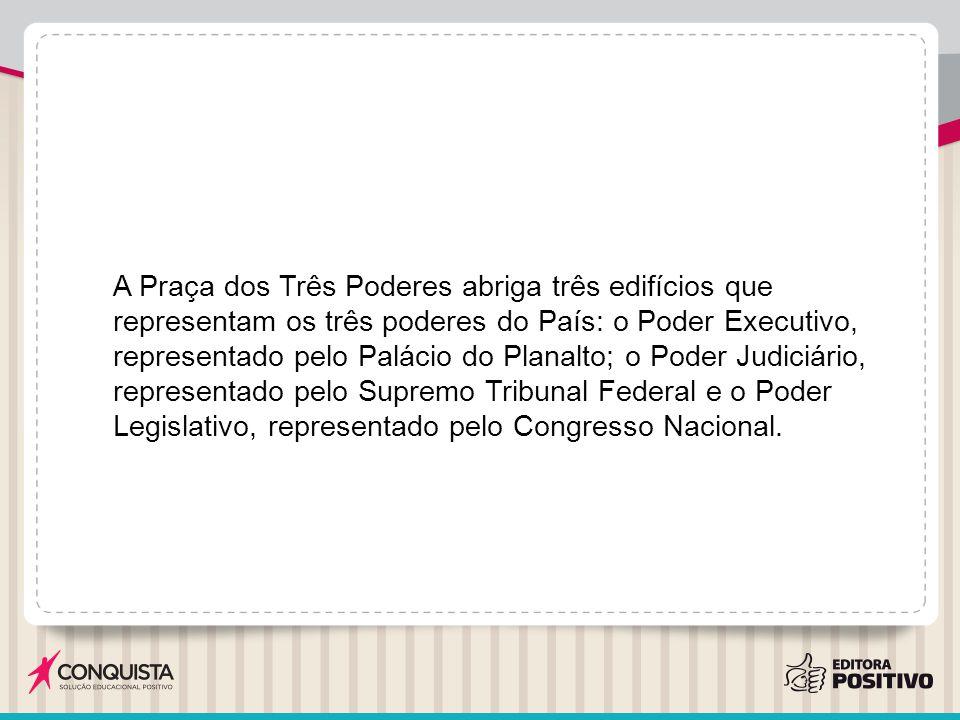 A Praça dos Três Poderes abriga três edifícios que representam os três poderes do País: o Poder Executivo, representado pelo Palácio do Planalto; o Po