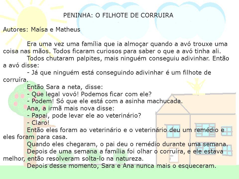 PENINHA: O FILHOTE DE CORRUIRA Autores: Maísa e Matheus Era uma vez uma família que ia almoçar quando a avó trouxe uma coisa nas mãos. Todos ficaram c