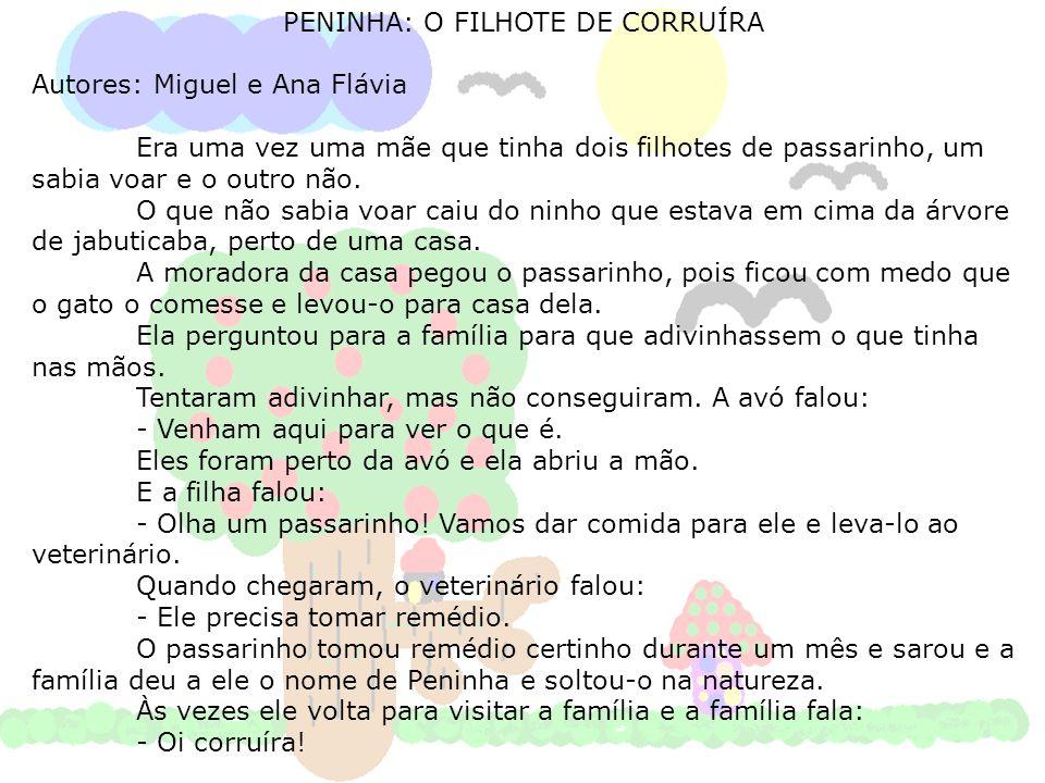 PENINHA: O FILHOTE DE CORRUÍRA Autores: Miguel e Ana Flávia Era uma vez uma mãe que tinha dois filhotes de passarinho, um sabia voar e o outro não. O