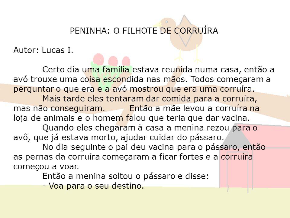 PENINHA: O FILHOTE DE CORRUÍRA Autor: Lucas I. Certo dia uma família estava reunida numa casa, então a avó trouxe uma coisa escondida nas mãos. Todos