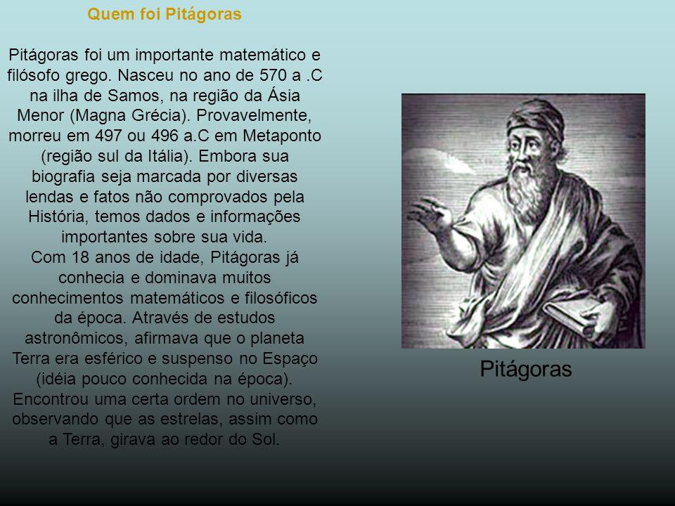 Quem foi Pitágoras Pitágoras foi um importante matemático e filósofo grego.