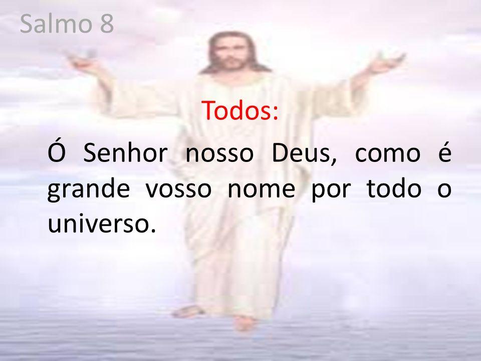 Salmo 8 Todos: Ó Senhor nosso Deus, como é grande vosso nome por todo o universo.