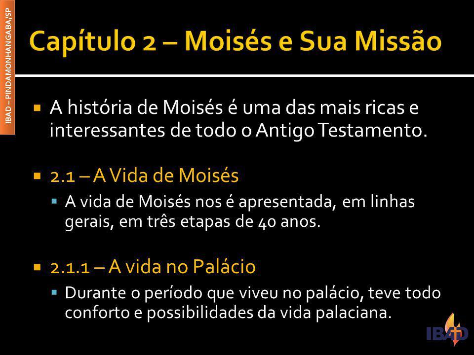 IBAD – PINDAMONHANGABA/SP  A história de Moisés é uma das mais ricas e interessantes de todo o Antigo Testamento.  2.1 – A Vida de Moisés  A vida d