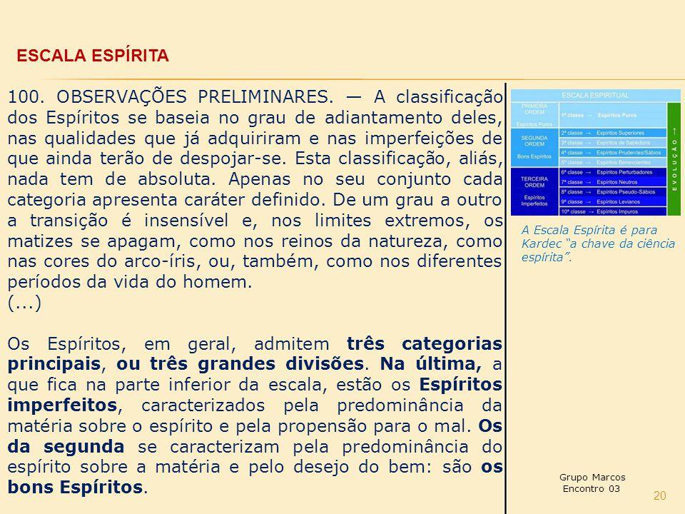 20 ESCALA ESPÍRITA 100.OBSERVAÇÕES PRELIMINARES.