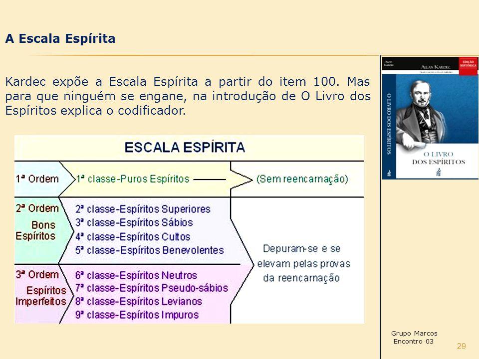 29 A Escala Espírita Kardec expõe a Escala Espírita a partir do item 100.