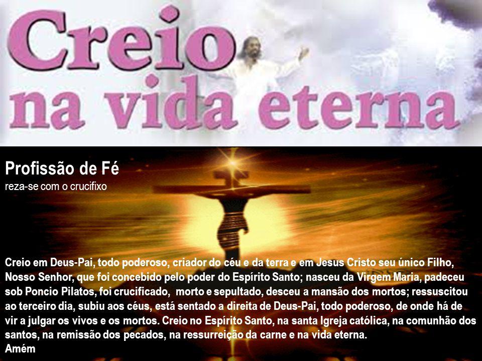 Profissão de Fé reza-se com o crucifixo Creio em Deus-Pai, todo poderoso, criador do céu e da terra e em Jesus Cristo seu único Filho, Nosso Senhor, que foi concebido pelo poder do Espírito Santo; nasceu da Virgem Maria, padeceu sob Poncio Pilatos, foi crucificado, morto e sepultado, desceu a mansão dos mortos; ressuscitou ao terceiro dia, subiu aos céus, está sentado a direita de Deus-Pai, todo poderoso, de onde há de vir a julgar os vivos e os mortos.