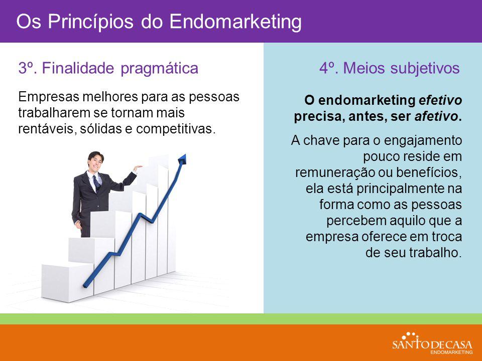 3º. Finalidade pragmática Os Princípios do Endomarketing 4º. Meios subjetivos O endomarketing efetivo precisa, antes, ser afetivo. A chave para o enga