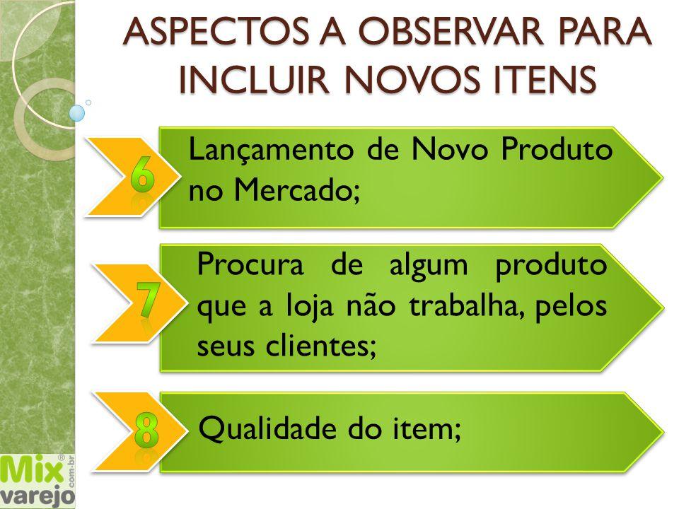 Qualidade do item; Lançamento de Novo Produto no Mercado; ASPECTOS A OBSERVAR PARA INCLUIR NOVOS ITENS Procura de algum produto que a loja não trabalh