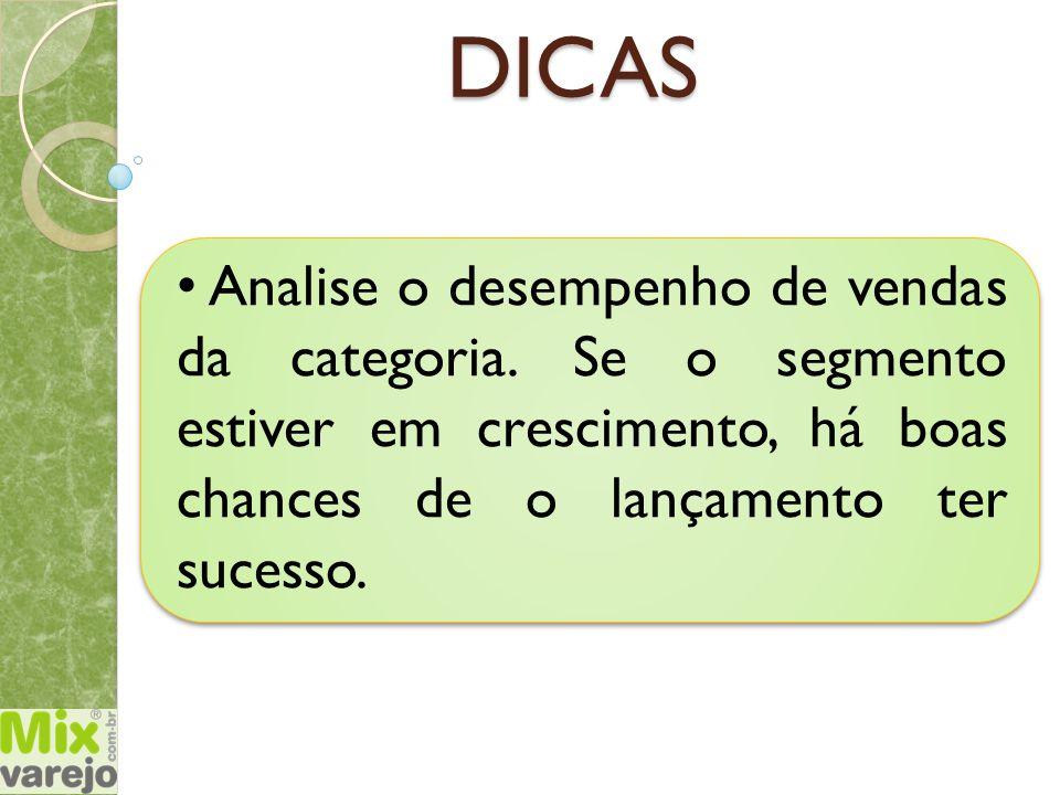 DICAS Analise o desempenho de vendas da categoria. Se o segmento estiver em crescimento, há boas chances de o lançamento ter sucesso.
