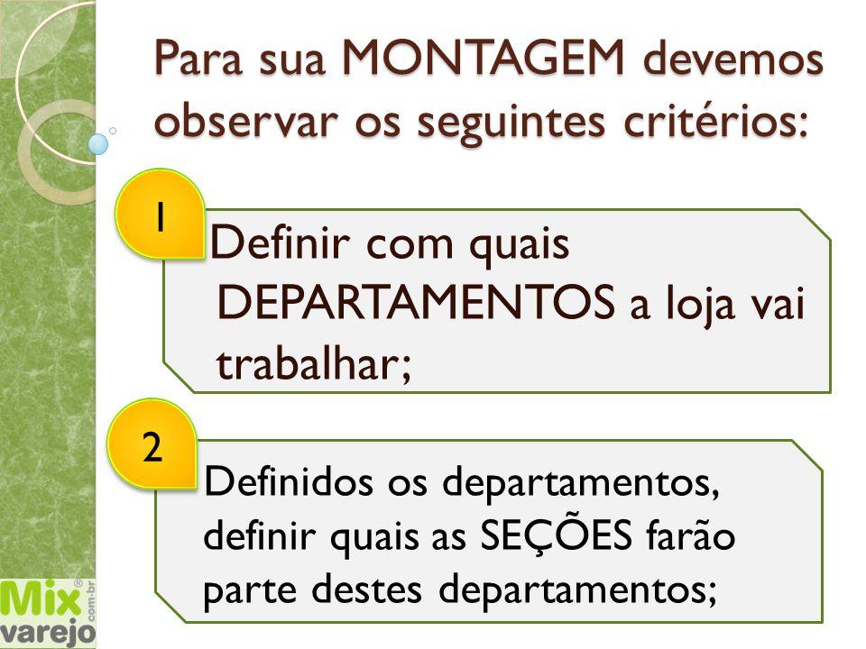Para sua MONTAGEM devemos observar os seguintes critérios: Definir com quais DEPARTAMENTOS a loja vai trabalhar; 12 Definidos os departamentos, defini