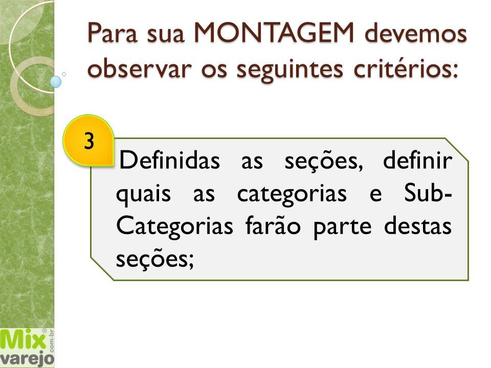 Para sua MONTAGEM devemos observar os seguintes critérios: Definidas as seções, definir quais as categorias e Sub- Categorias farão parte destas seçõe