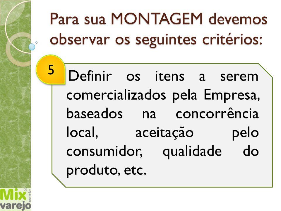 Para sua MONTAGEM devemos observar os seguintes critérios: 5 Definir os itens a serem comercializados pela Empresa, baseados na concorrência local, ac