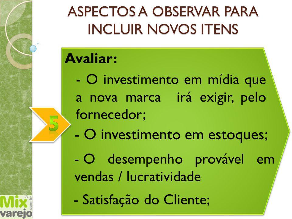 ASPECTOS A OBSERVAR PARA INCLUIR NOVOS ITENS Avaliar: - O investimento em estoques; - O desempenho provável em vendas / lucratividade - O investimento