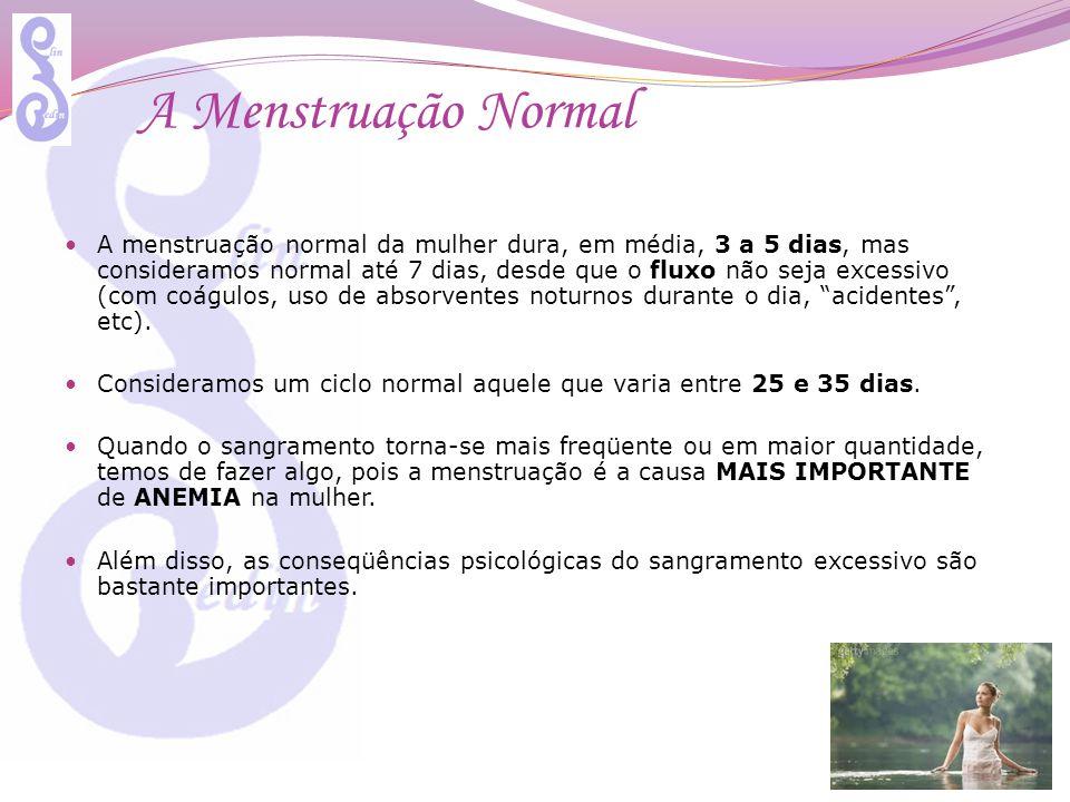 Causas Entre as causas mais freqüentes de sangramento excessivo, encontram-se: Hormonais: os primeiros dois anos da 1ª menstruação, pré- menopausa, alterações tireoidianas, ovarianas, emagrecimento / aumento repentino de peso, etc Medicamentos: diversos medicamentos podem alterar o fluxo menstrual, como antidepressivos, inibidores de apetite, hormônios, etc; Anatômicas: Miomas, Pólipos endometriais, Cistos ovarianos, uso de DIU (cobre), etc Stress ou Funcionais: há variação no estímulo do sistema nervoso sobre praticamente toda a produção hormonal, incluindo sobre os ovários e, conseqüentemente, sobre o funcionamento uterino