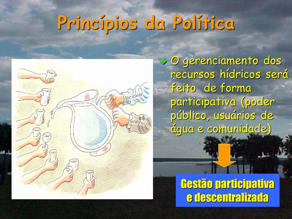 Princípios da Política  O gerenciamento dos recursos hídricos será feito de forma participativa (poder público, usuários de água e comunidade) Gestão