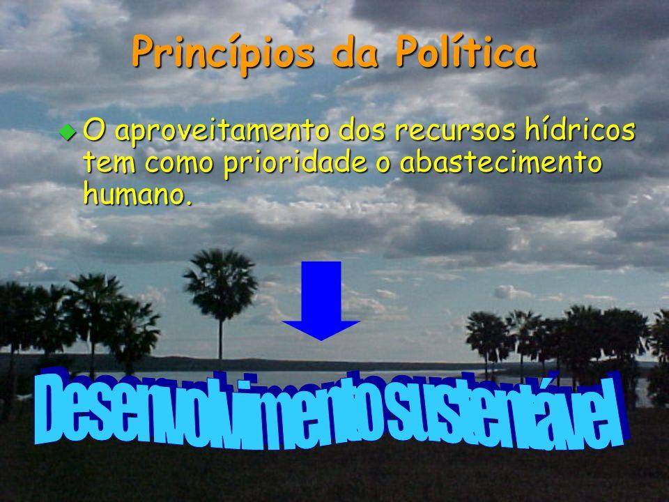 Princípios da Política  O aproveitamento dos recursos hídricos tem como prioridade o abastecimento humano.
