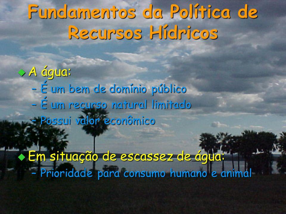 Fundamentos da Política de Recursos Hídricos  A água: –É um bem de domínio público –É um recurso natural limitado –Possui valor econômico  Em situaç